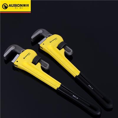 奥邦 重型管子钳 多规格美式管子钳 手动沾塑管子钳管钳 250mm(6把/盒,48把/件,0.68