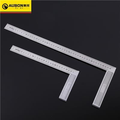 奥邦 五金钢角尺300-500MM木工测量工具不锈钢直角尺拐尺 锌合金角度尺300mm(6把/盒)