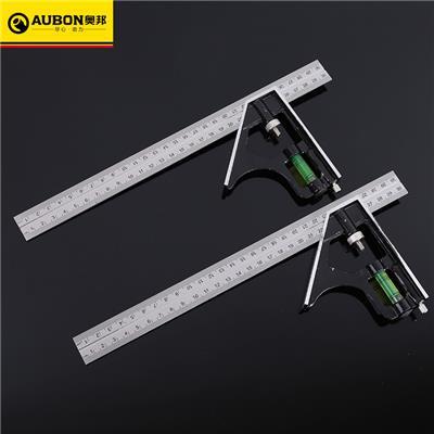 奥邦 五金测量工具组合角度尺300MM不锈钢多功能组合角尺 组合角尺300mm(12把/盒,60把/件)