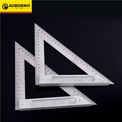 奥邦 五金木工铝合金三角尺建筑装修角度尺高精度三角尺 锌合金200mm三角尺(10把/盒)
