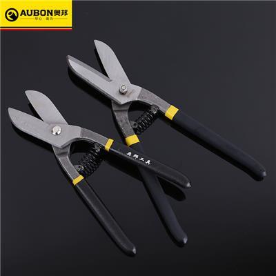 奥邦 德式美式铁皮剪双色沾塑手柄铁皮剪刀不锈钢剪航空剪 8寸德式铁皮剪(10把/盒,0.35kg/把)