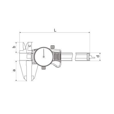 广陆量具 新款闭式带表卡尺 0-150mm 货号171-122A2