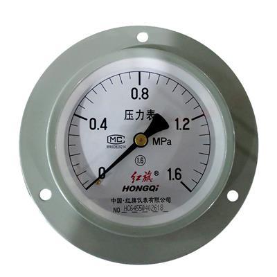 红旗仪表 轴向带边压力表 Y-100ZT