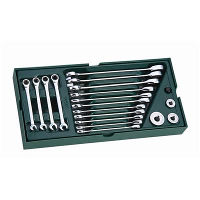 世達工具SATA工具托組套-19件全拋光兩用快扳09908