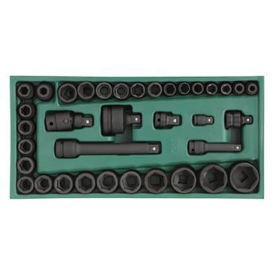 世達SATA風動套筒及配件工具托組套36件3/8