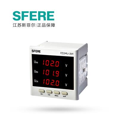 斯菲尔 三相电压表 带4-20mA模拟量输出 PZ194U-3K4  AC100V-3P3W